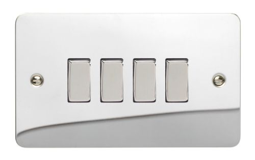 Varilight XFC9D Ultraflat Polished Chrome 4 Gang 10A 1 or 2 Way Rocker Light Switch